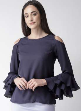plusS Women Navy Blue Solid Cold-Shoulder Top