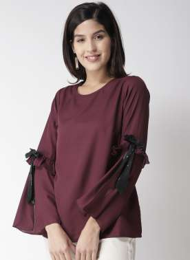 plusS Women Burgundy Solid A-Line Top