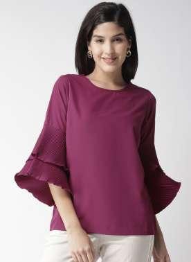 plusS Women Purple Solid Top
