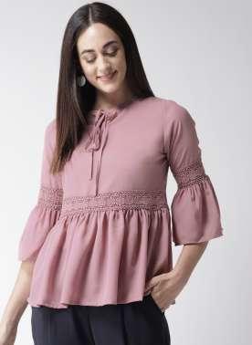 plusS Women Lavender Solid A-Line Top