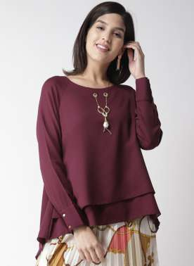plusS Women Burgundy Solid Layered Styled Back Top