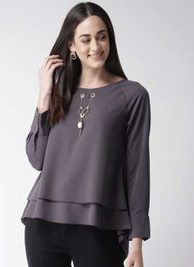plusS Women Charcoal Grey Solid Layered Styled Back Top