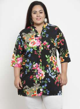 plusS Black Floral Printed Tunic