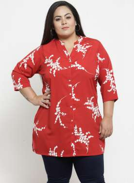 plusS Red & Off-White Printed Tunic