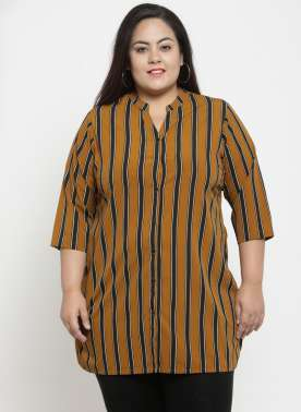 plusS Mustard Yellow & Black Striped Tunic