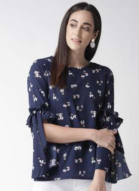 plusS Women Navy Blue Printed A-Line Top