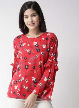 plusS Women Red & White Printed Top