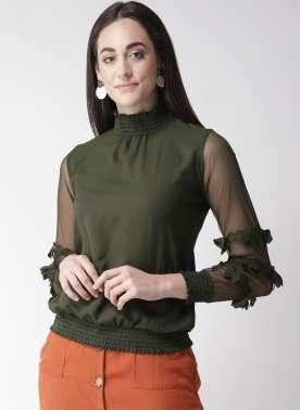 plusS Women Olive Green Solid Blouson Top