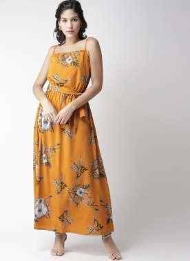 plusS Women Mustard Yellow & Green Printed Maxi Dress