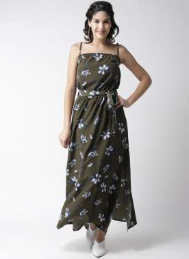 plusS Women Olive Green & Blue Printed Maxi Dress
