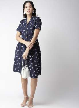 plusS Women Navy Blue White Printed Shirt Dress