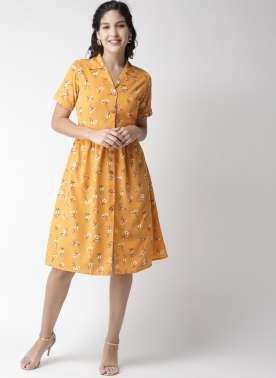 plusS Women Mustard Yellow & White Floral Print Shirt Dress