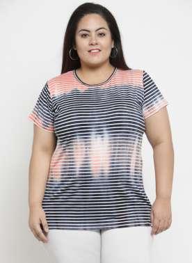 plusS Women Blue Striped Round Neck T-shirt