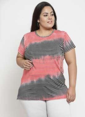 plusS Women Red Striped Round Neck T-shirt