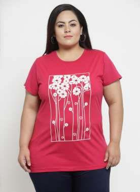 plusS Women Red Printed Round Neck T-shirt