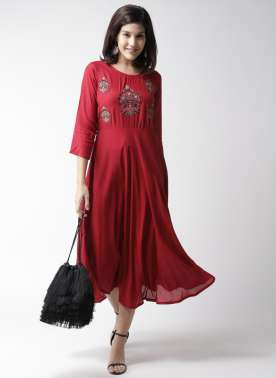 plusS Women Red Embroidered Fit & Flare Dress