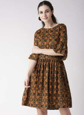 plusS Mustard Yellow & Black Printed Tunic