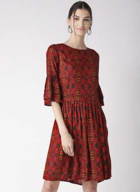 plusS Red & Black Printed A-Line Dress