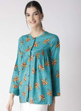 plusS Women Turquoise Blue & Red Printed A-Line Top