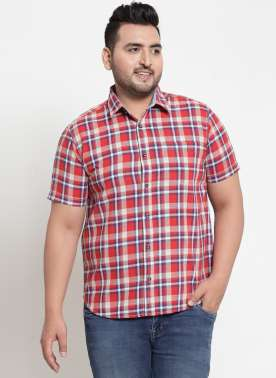 plusS Men Red & Blue Regular Fit Checked Casual Shirt