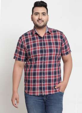 plusS Men Navy Blue & Red Regular Fit Checked Casual Shirt