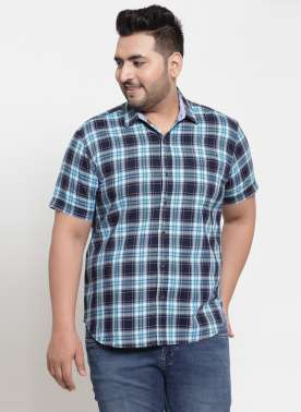 plusS Men Blue Regular Fit Checked Casual Shirt