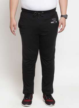 plusS Men Black Solid Straight-Fit Trackpant