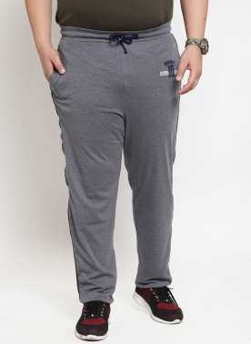 plusS Men Grey Solid Straight-Fit Trackpant