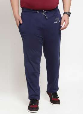 plusS Men Navy Solid Straight-Fit Trackpant