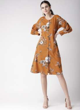 plusS Mustard Yellow & White Printed Tunic