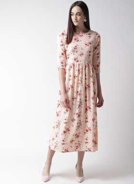 plusS Women Peach-Coloured & Maroon Floral Print Fit & Flare Dress