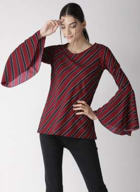 plusS Women Maroon Striped Top