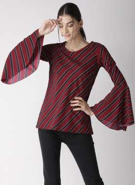 plusS Women Maroon Striped Top