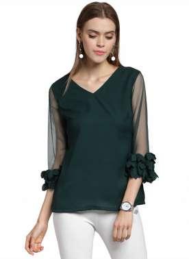 plusS Women Green Solid A-Line Top