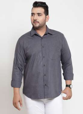 plusS Men Anthra Regular Fit Casual Shirt