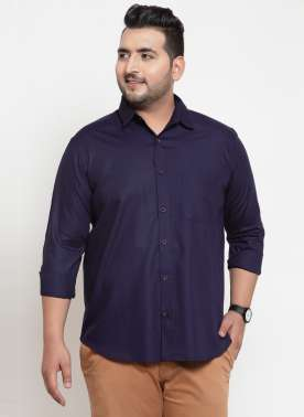plusS Men Navy Blue Regular Fit Casual Shirt