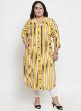plusS Mustard Yellow & White Stripe Tunic