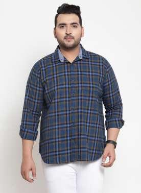 plusS Men Navy Blue & Red Regular Fit Checked Casual Shirt