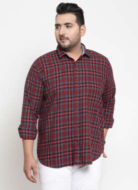 plusS Men Navy Blue & Maroon Regular Fit Checked Casual Shirt