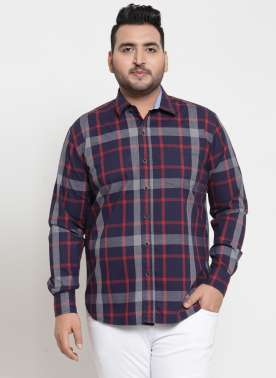 plusS Men Navy & Blue Regular Fit Checked Casual Shirt