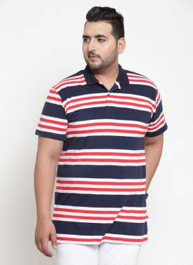 Men Blue & Red Striped Polo Collar T-shirt