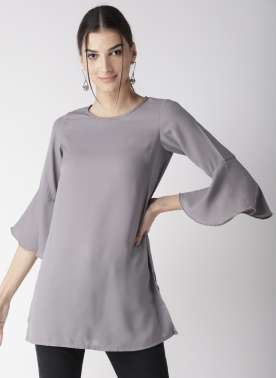 Women Grey Solid A-Line Top