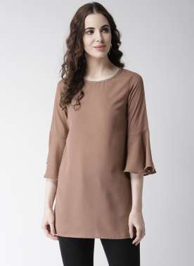 Women Brown Solid A-Line Top