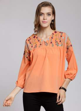 Women Orange Printed Boxy Top
