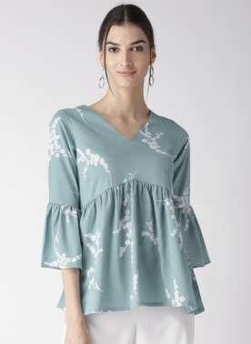 Women Blue & White Floral Print Empire Top