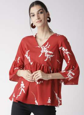 Women Red & White Printed Empire Top