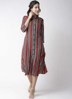 Women Red & White Striped Shirt Dress