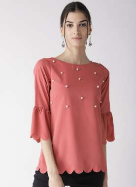 Women Pink Solid Top with Embellished Detail