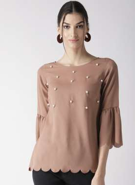Women Brown Solid Top with Embellished Detail