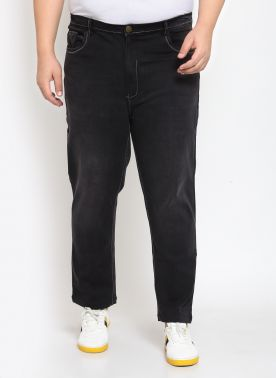 Black Regular Fit High-Rise Clean Look Jeans